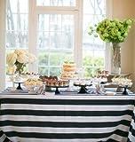 "lovemyfabric Cotton 2 Inch Black & White Stripes Tablecloth for Wedding/Bridal Shower, Birthdays, Special Events (58""x76"")"