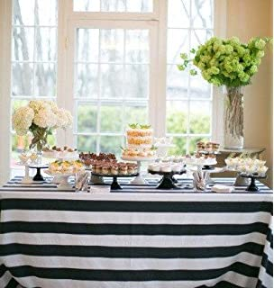 Lovemyfabric Cotton 2 Inch Black U0026 White Stripes Tablecloth For  Wedding/Bridal Shower, Birthdays