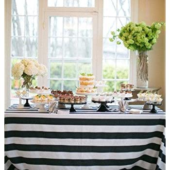 Delightful Lovemyfabric Cotton 2 Inch Black U0026 White Stripes Tablecloth For  Wedding/Bridal Shower, Birthdays