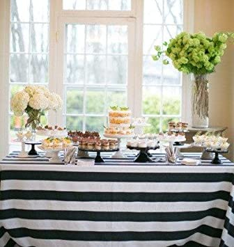 Beau Lovemyfabric Cotton 2 Inch Black U0026 White Stripes Tablecloth For  Wedding/Bridal Shower, Birthdays