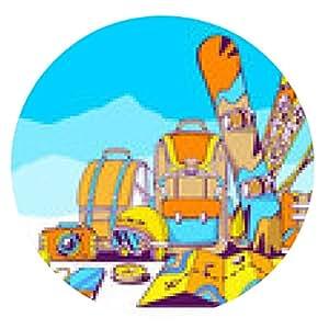 alfombrilla de ratón Ilustración del vector de mochilas y accesorios para viaje o de invierno - ronda - 20cm