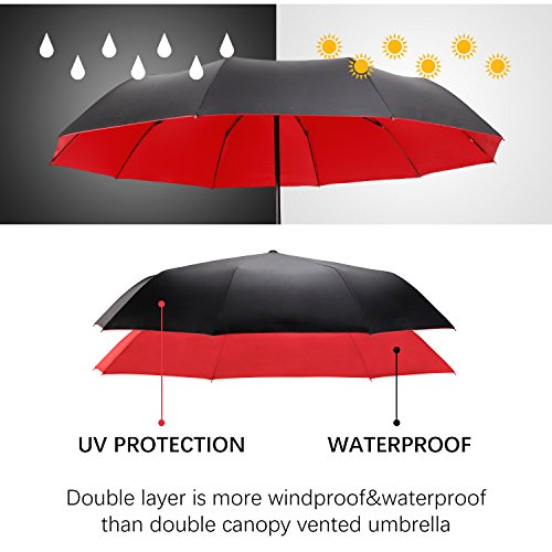 Travel Umbrella Windproof Double Canopy Vented Windproof, Waterproof Auto Open/close Umbrellas,Extra Large Oversize Travel Umbrella,Double Layer Anti-UV Umbrella. by XDSheng (Image #1)