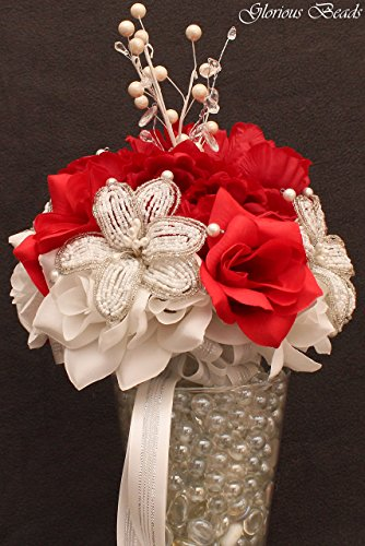 (Red Beaded Lily Wedding BRIDAL Bouquet ~ Red and White with Peonies and Roses. Unique French beaded flowers and beaded sprays ~ Can also be used for centerpiece or ceremony flowers!)