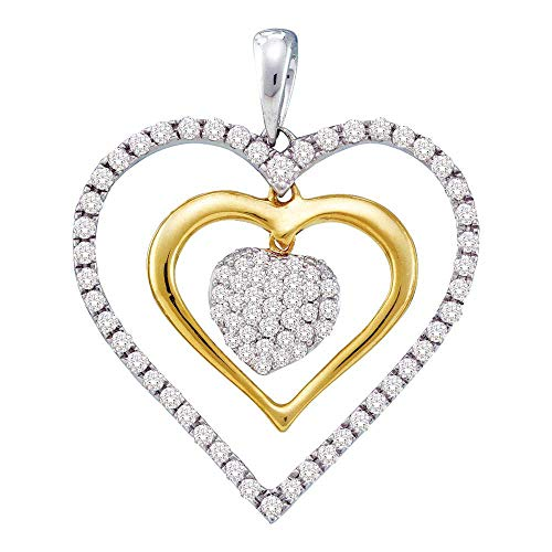 - Dazzlingrock Collection 14kt White Gold Womens Round Diamond Double Frame Heart Cluster Pendant 1/2 Cttw