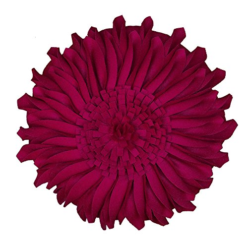 Dining Art Chairs Deco (JW Handmade 3D Sun Flowers Accent Pillows Round Cushions for Home Sofa Car Office Chair Bed Decoration Wool Magenta 13 Inch / 33 CM)