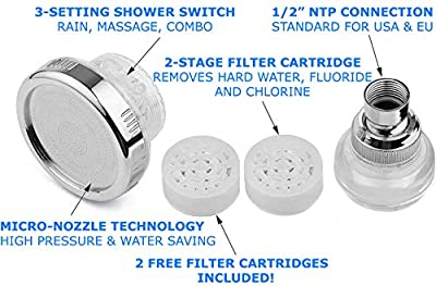 Water Softener Shower Head - Hard Water Filter - Chlorine & Fluoride Filter - Filtered Shower Head - High Pressure Shower Head - 2 Replaceable Filters - Best Shower Filter for Low Water Pressure