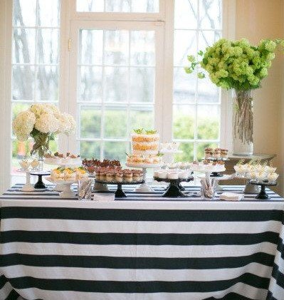 "lovemyfabric Cotton 2 Inch Black & White Stripes Tablecloth for Wedding/Bridal Shower, Birthdays, Special Events (58""x76"")"