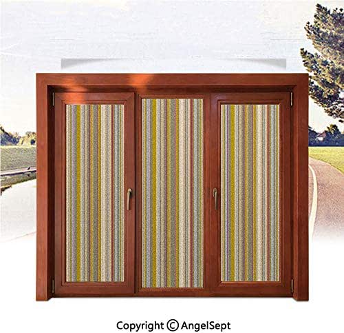 RWNFA 3D Printed Non Adhesive Home Office Window Film,Retro Vertical Striped Background in Different Shades of Earthen Tones Image 22.8