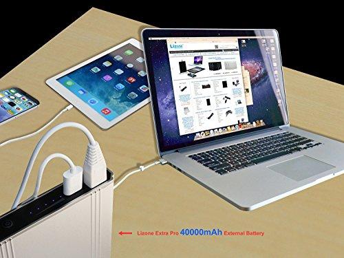 Lizone Extra Pro USB potential Bank aluminium light UniBody for Laptop and Smartphones 40000mAh Silver Accessories