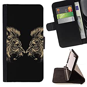 Lion Angry Roar Fight Boxing Champion - Painting Art Smile Face Style Design PU Leather Flip Stand Case Cover FOR Samsung Galaxy Note 3 III @ The Smurfs