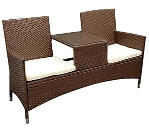 gartenmoebel-einkauf San Vincenzo - Asiento doble con mesa (acero y ratán, 1 pieza), color marrón bicolor