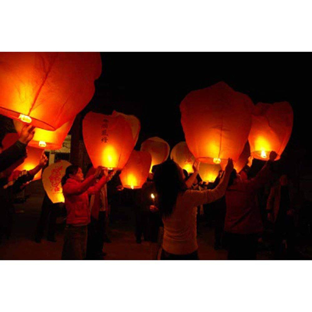 Alrens_DIY(TM) Red Love Heart Shaped Large Chinese Sky Fly Fire Paper Lanterns Wish Balloon Wishing Lamp for Wedding Birthday Christmas Party (10, Heart Shaped) by Alrens
