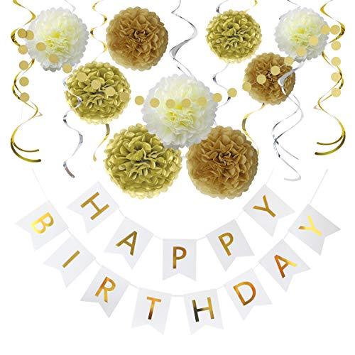 Gold And White Party (Litaus Birthday Decorations, Gold and White Happy Birthday Decorations for Women -Serves 4- Happy Birthday Banner, Hanging Swirls, Paper Garland and Flowers for Kids Dini Party, Party)