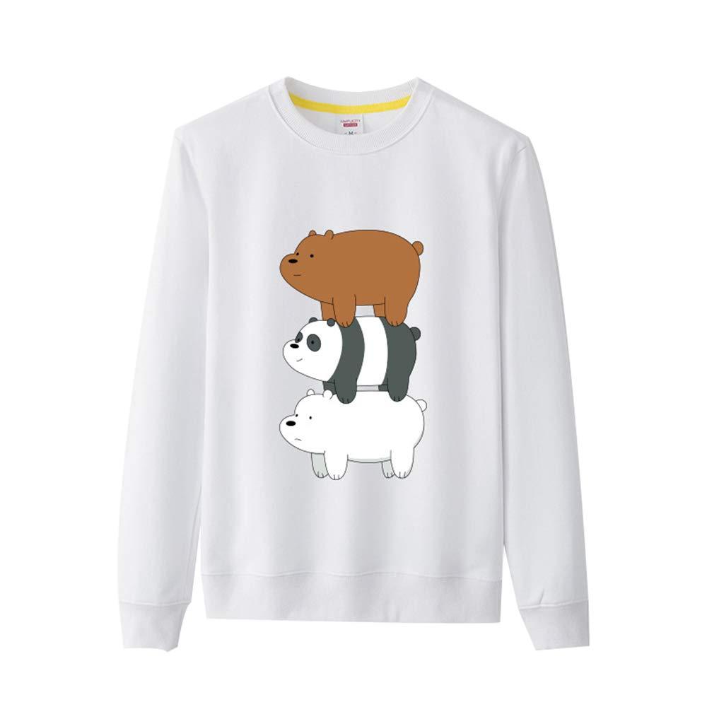 We Bare Bears Pullover Su/éter Lindo de algod/ón con Estampado de Mangas largas para ni/ños Su/éter de Cuello Redondo y Manga Larga ni/ñas