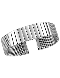 20mm Silver Metal Mesh Watch Band Straps Bracelets High-End Solid Stainless Steel Deployment Clasp