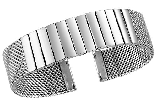 hain Mesh Watch Band Strap Wristband Replacement in Silver Solid Stainless Steel Links ()