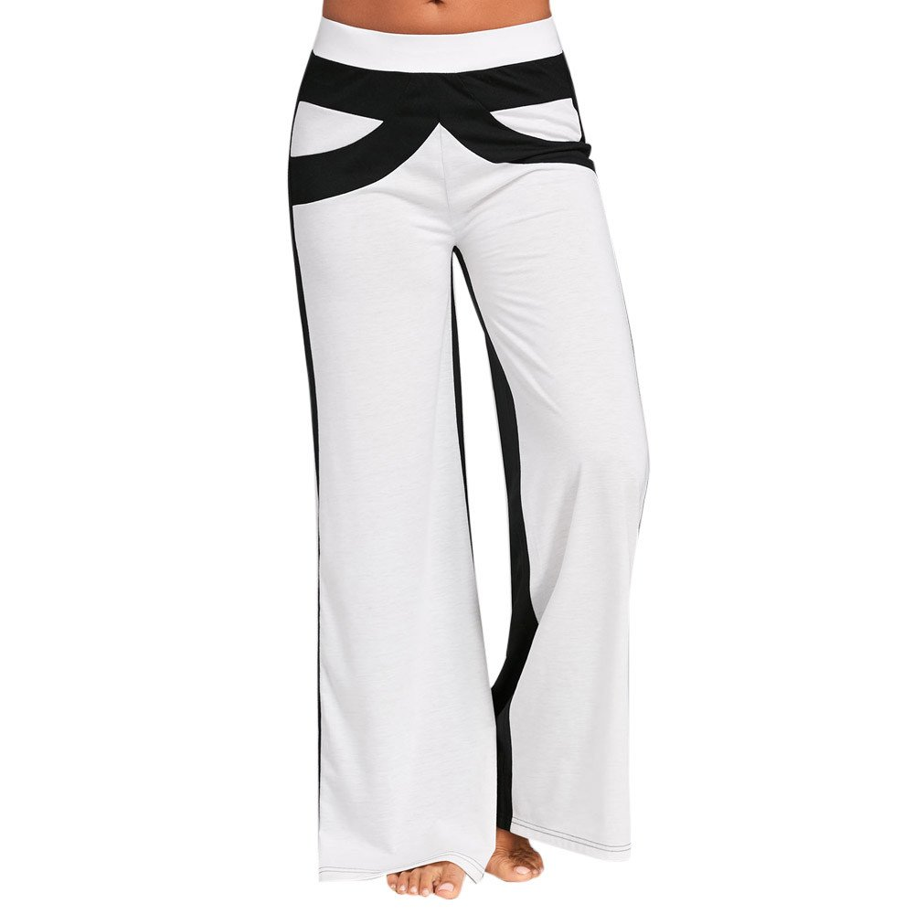 Meigeanfang Women Patchwork Sport Pants, Contrast Color Bell Bottoms Flare Trousers Wide Leg Yoga Pants (White, M) by Meigeanfang