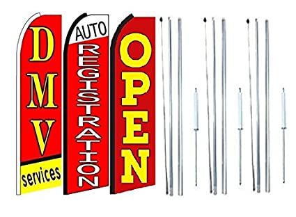 CAR WASH Open Welcome King Windless Flag Pack of 8 Hardware not Included