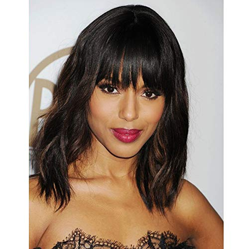 (AISI HAIR Wavy Bob Wigs with Bangs for Women Black Mixed Brown Color Short Wavy Bob Curly Wig Synthetic Natural Looking Heat Resistant Fiber Hair for Black)