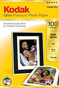 Kodak 8505141 4-Inch X 6-Inch Ultra Premium Photo Paper High Gloss (100 Sheets)