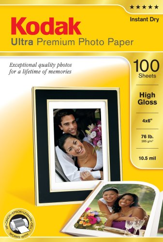Kodak 8505141 4-Inch X 6-Inch Ultra Premium Photo Paper High Gloss  (100 Sheets), Office Central