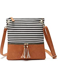 TOTZY Small Crossbody Bags Shoulder Purse for Women/Girls Faux Leather+Canvas Messenger Bags