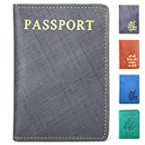 SanSiDo RFID Blocking Leather Passport Cover Passport Holder Travel Wallet Passport Wallet Case - FULL GRAIN LEATHER (Navy-Gold-03)
