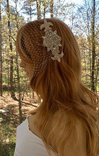 Rhinestone Bridal Bandeau Veil for Wedding by cmtjewelrly