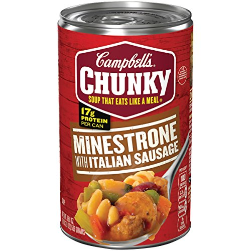 Campbell's Chunky Minestrone Soup with Italian Sausage, 18.8 oz. Can (Pack of 12)