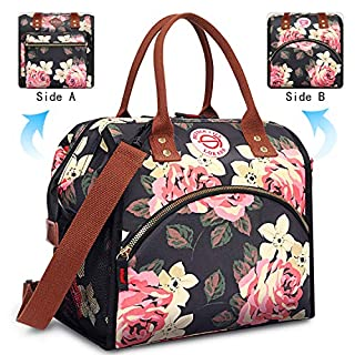 BRINCH Lunch Bag Insulated Lunch Box Leak Proof High Temperature Resistance Lunch Bags for Women Commuter Thermal Lunch Tote Cooler Bag Wide Open Drink Can Organizer Holder with Dual LOGOs, Peony