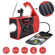#LightningDeal [2020 Premium Version] Emergency-Solar-Hand-Crank-Radio,Puiuisoul Portable NOAA Weather Radios with AM/FM, Alarm,Reading Lamp,2000mAh Power Bank(Red)