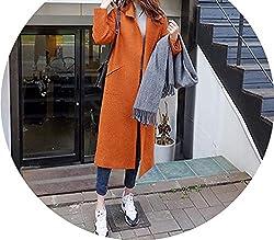 Cardigan Overcoat Long Autumn Winter Women Wool Jackets Cashmere Woolen Coat Female Orange S