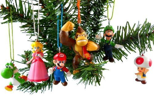 Ornament Donkey Christmas (Super Mario Brothers 6 Piece Christmas Holiday Ornament Set Featuring Mario, Luigi, Donkey Kong, Yoshi, Toad and Princess Peach - Shatterproof Ornaments Range From 1.5
