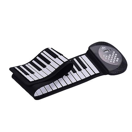 Muslady Piano Enrollable Electrónico 61 teclas, Teclado MIDI Silicio Altavoz Estéreo Incorporado Batería de 1200mA