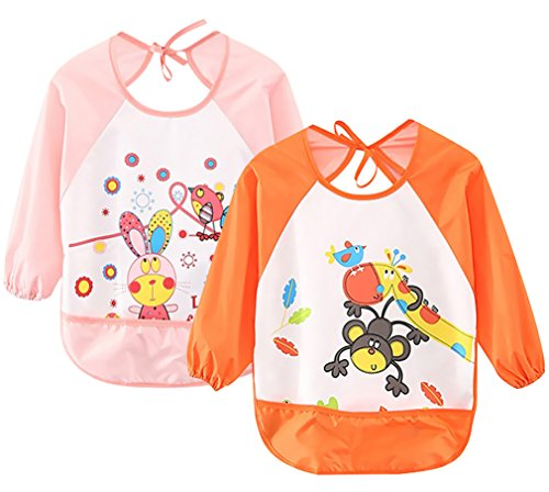 Leyaron 2 Pack Unisex Infant Toddler Baby Waterproof Sleeved Bib, 6 Months-3 Years, Orange Monkey and Pink Rabbit ()