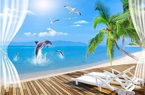Weaeo 3D壁紙カスタム壁画不織壁ステッカー美しいココナッツパームビーチ3Dの床のコーブ壁の3Dのためのテレビの設定の壁紙-400X280Cm