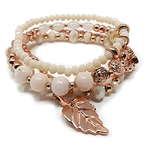 JADE POP - Women's Multicolored Beaded Stretch Stackable Chain Bracelet Set with Charm - Rose Gold - Bracelets