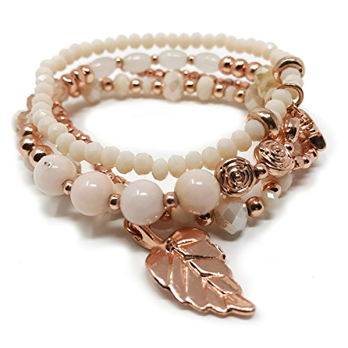 JADE POP - Women's Multicolored Beaded Stretch Stackable Chain Bracelet Set with Charm - Rose Gold