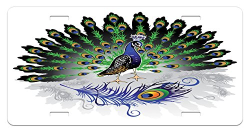 Peacock License Plate by Lunarable, Male Peacock with Open Tail Reflection Crowned Majestic Bird Tropics, High Gloss Aluminum Novelty Plate, 5.88 L X 11.88 W Inches, Violet Blue Green Black (Majestic Birds Plate)