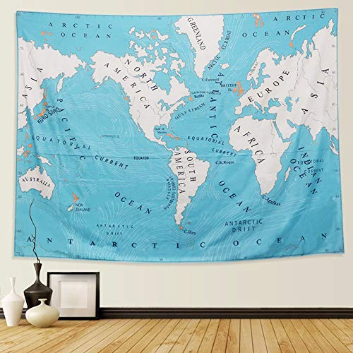 World Ocean Currents Hippie Tapestry Mandala Bohemian Bedroom Living Room Dorm Wall Tablecloths Single-sided Printing Picnic Blanket and Beach Throw (M/80