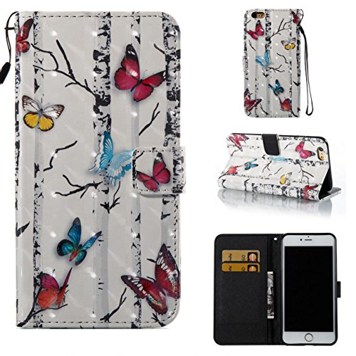 iPhone 6S Plus /6 Plus Case,Magnetic PU Wallet Cover Durable Stand Cover Credit Card Holder Flip Cover with Strap Birthday Christmas Halloween Gift for Apple iPhone 6S Plus /iPhone 6 Plus-Butterflies
