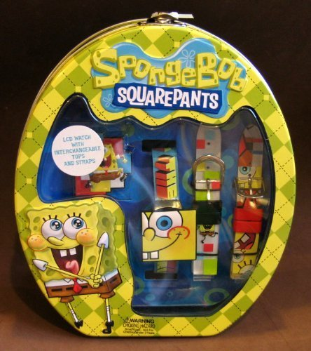 (Spongebob SquarePants LCD Watch with Interchangeable Tops and Straps w Tin Case Backpack)