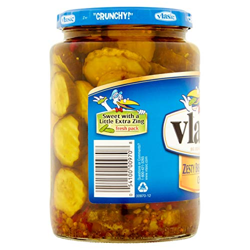 Vlasic Zesty Bread & Butter Pickle Chips 24oz Glass Jar (Pack of two)