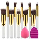 BEAKEY Makeup Brush Set Premium Synthetic Kabuki Foundation Face Powder Blush Eyeshadow Brushes Makeup Brush Kit with Blender Sponge and Brush Egg (10+2pcs,GOLD-WHITE)