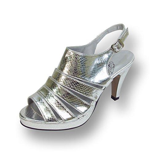 Floral FIC Jules Women Extra Wide Width Metallic Snake Print Slingback Silver 7