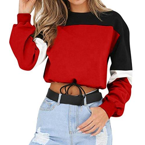 Top ASHOP Camicetta Pullover Maglia Abbigliamento Colorblock Sportive Rosso Lunga Felpa Lunghe Maniche Manica Donna qTTCRw5P