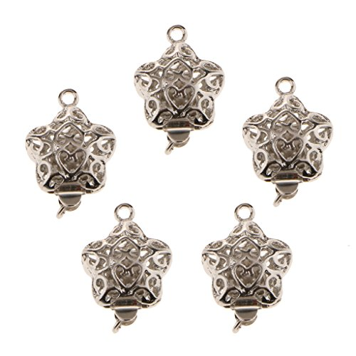 MagiDeal 5 Pieces Double Side Filigree Heart Connectors DIY Bracelet Necklace Clasps ()