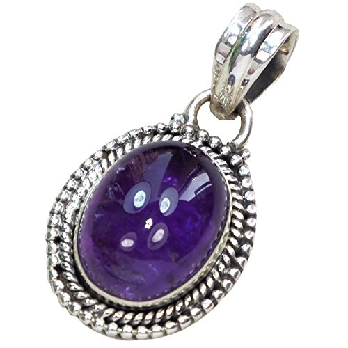 (CZgem 925 Sterling Silver 30 Ct Faceted Amethyst Oval Shape Pendant Crystal Quartz Pendant Healing Lucky 1.4