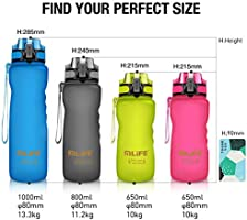 Pl/ástico Reutilizables Flujo R/ápido Water Bottle para Ciclismo Azul Senderismo Yoga Correr Botella de Agua para Deportes 600ml
