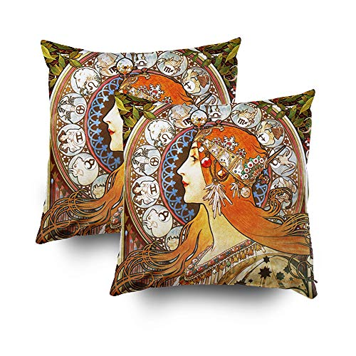 Shorping Christmas Zippered Pillow Covers Pillowcases 18x18Inch 2 Pack Mucha la Plume Zodiac Art Nouveau Vintage Decorative Throw Pillow Cover Pillow Cases Cushion Cover for Home Sofa Bedding